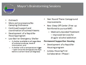 "this is a slide from Scott Ciambor showing a list of ideas from a ""brainstorming session"" on homelessness"