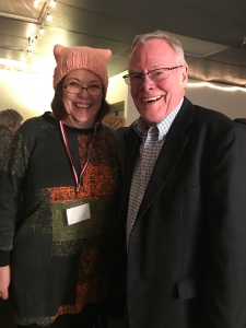 Sen. Berta Gardner and Sen. Dennis Egan enjoying the Democratic Auction (Great hat, Berta!)